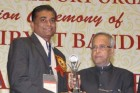 "Mr. Arvindbhai Pan(MD) receiving Award by Pranab Mukherjee under FIEO ""Nryat Shree Award"" - 2012"